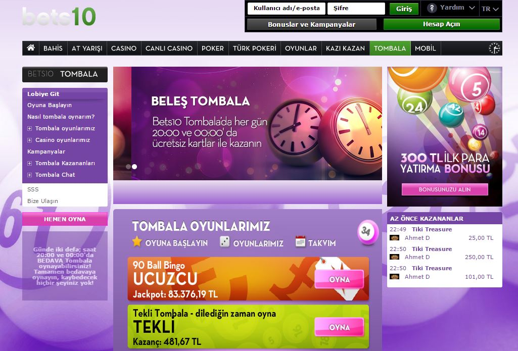 Bets10 Beleş Tombala